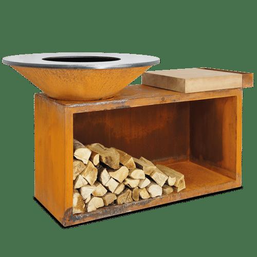 barbacoa ofyr isla corten Ø100 madera teca