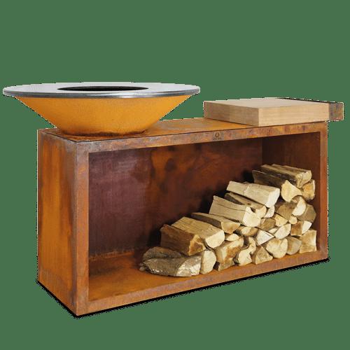 Barbacoa Ofyr Isla corten Ø85 madera teca